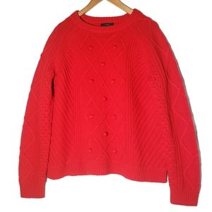 J.Crew || Cherry Red Cable Knit Wool Sweater